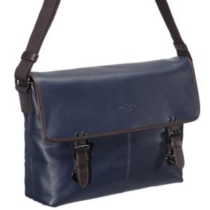 Синяя мужская сумка с коричневой отделкой Dr.Koffer M402482-41-60 фото